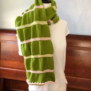 Green, pink, yellow hand knitted shawl